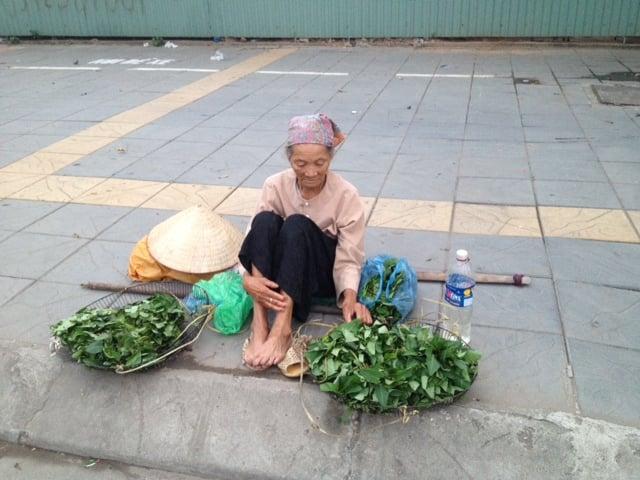 Cụ bà 80 bán rau giữa ngã tư HN lấy tiền mua thuốc 5
