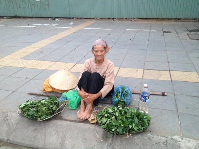 Cụ bà 80 bán rau giữa ngã tư HN lấy tiền mua thuốc 6