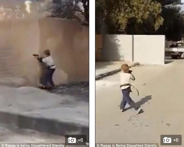 Chiến binh nhí 5 tuổi của IS tập bắn súng lục ngay giữa phố Syria 7
