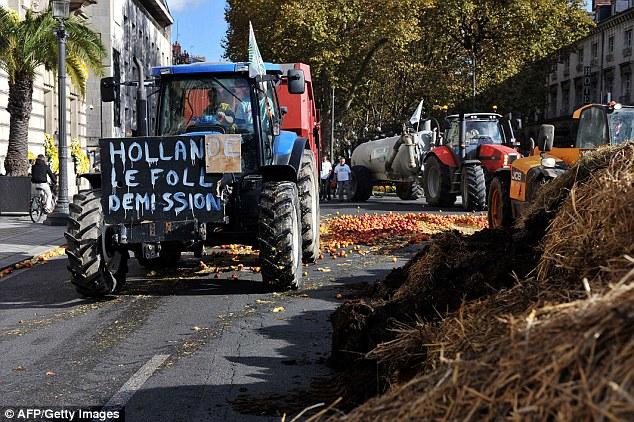 Nông dân Pháp mang hàng trăm tấn phân đi biểu tình 10