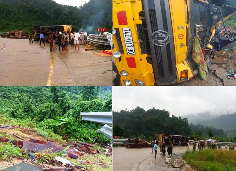 Xe chở gỗ bị lật, 2 người tử vong 5