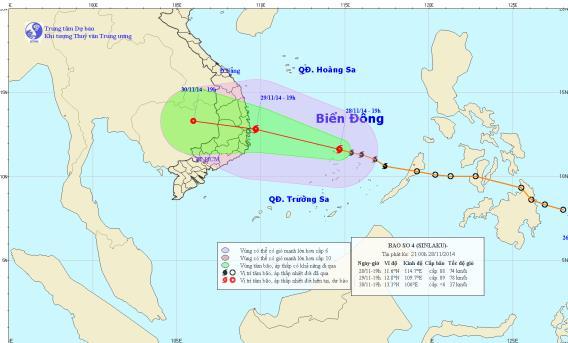 Dự kiến chiều 29/11 bão số 4 đổ bộ vào Bình Định- Khánh Hòa 4