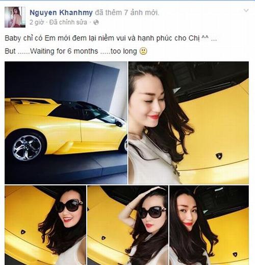 Khánh My 'chịu chơi' chi tiền tậu siêu xe Lamborghini 5 tỷ 5