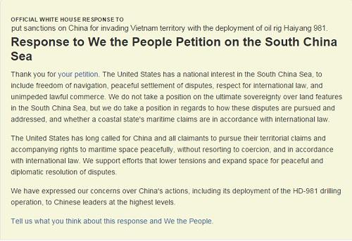 Nhà Trắng phản hồi kiến nghị trừng phạt TQ vụ giàn khoan Hải Dương 981 6