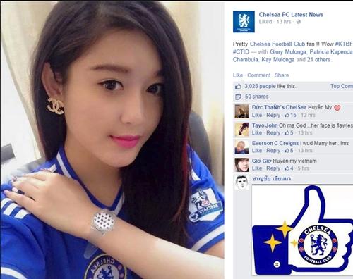 Á hậu Huyền My bất ngờ xuất hiện trên fanpage thế giới của đội Chelsea 5