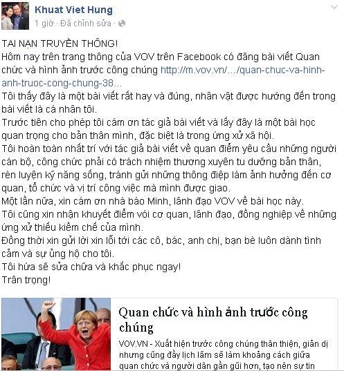 Ông Khuất Việt Hùng xin lỗi vì ứng xử thô lỗ ở VOV 4