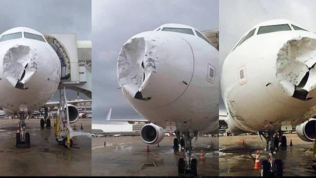 Máy bay Brazil bị móp đầu vì sét và mưa đá 4