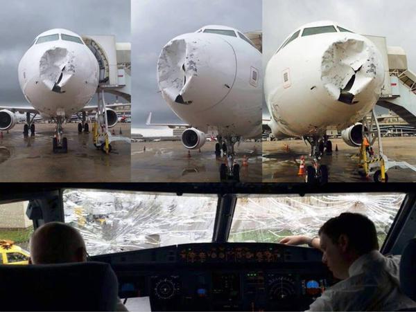 Máy bay Brazil bị móp đầu vì sét và mưa đá 5