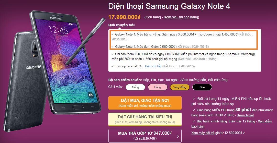Galaxy Note 4 bất ngờ giảm giá sốc 2