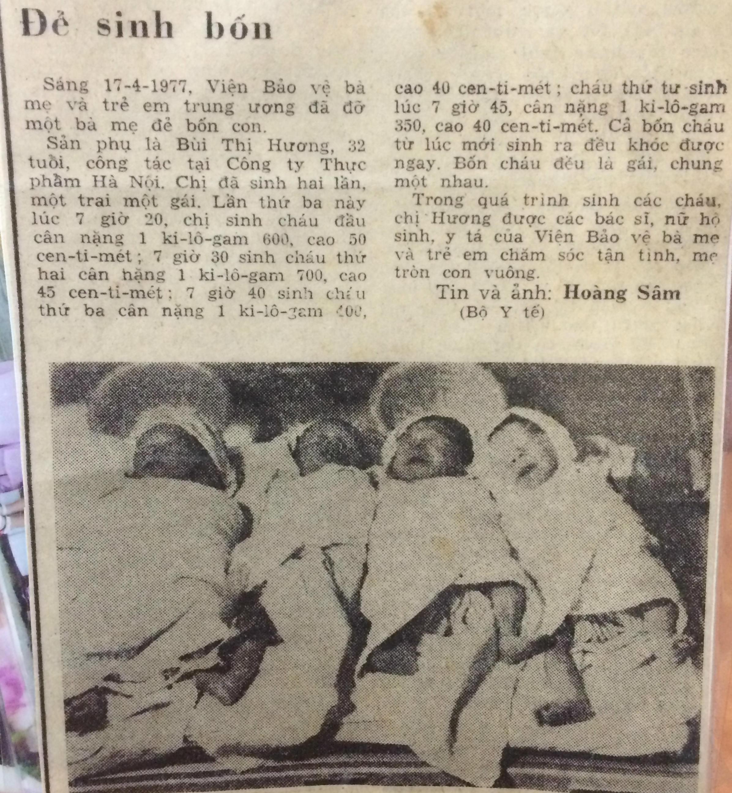 Chuyện về ca sinh 4 được cố Thủ tướng Phạm Văn Đồng đỡ đầu 1