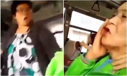 Clip người phụ nữ tát cụ già liên tiếp trên xe bus gây bức xúc 1