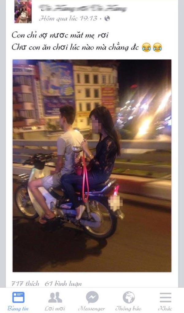Cô gái trẻ thản nhiên hút shisha khi đi xe máy trên đường 1