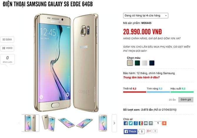 Samsung S6 edge 64GB giảm giá nửa triệu  2