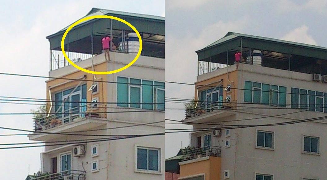 Hà Nội: Thót tim, cô gái trèo ra lan can tầng 6 1