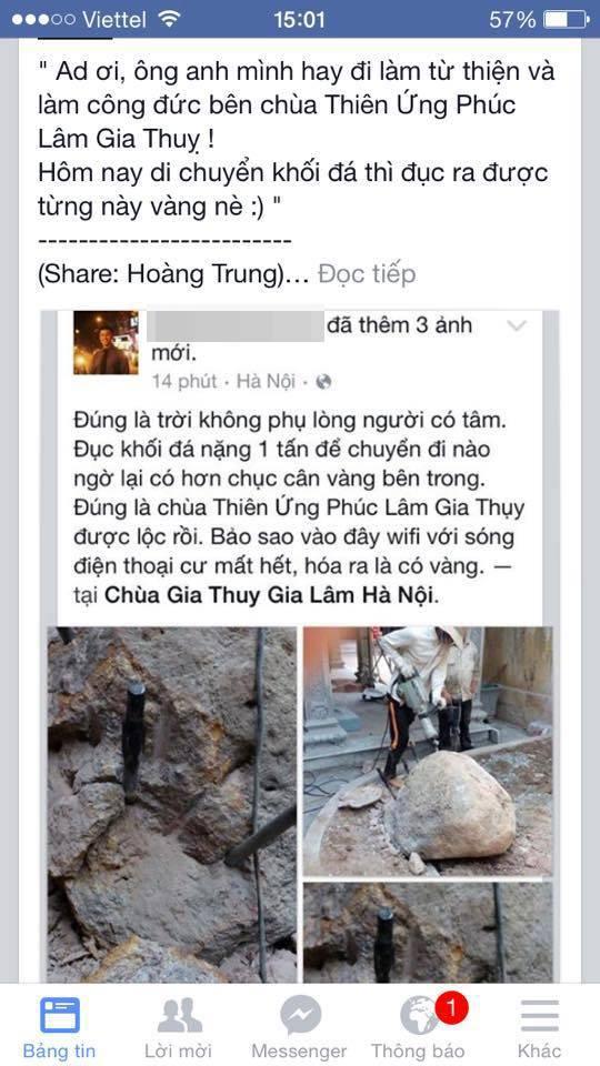 Thực hư thông tin chùa ở Hà Nội 'đập đá' ra 10kg vàng 1