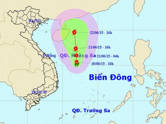 Rạng sáng ngày 23/6, bão số 1 đi vào vịnh Bắc Bộ 1