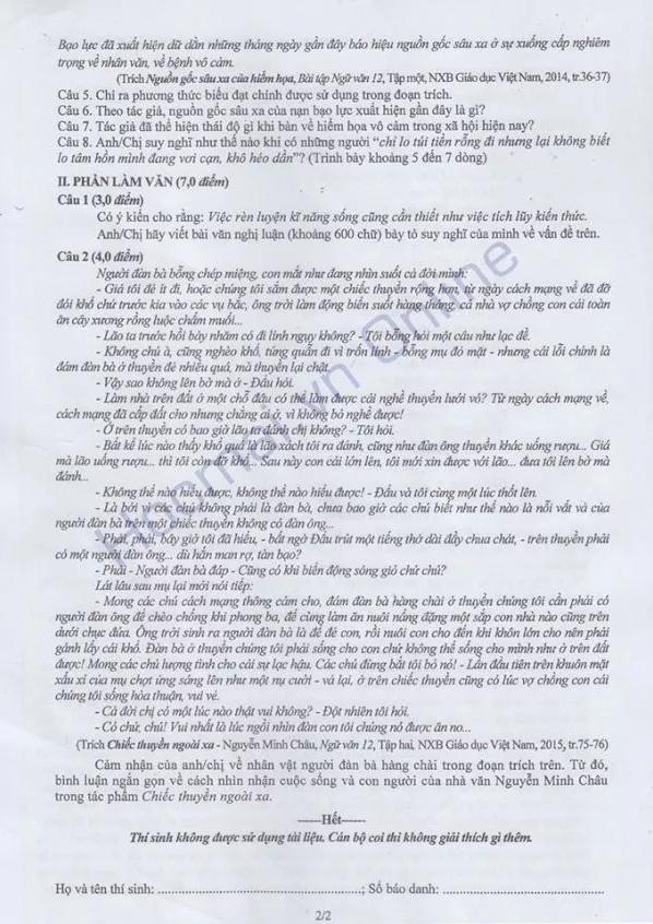 Đáp án đề thi môn Văn tốt nghiệp THPT quốc gia năm 2015 10