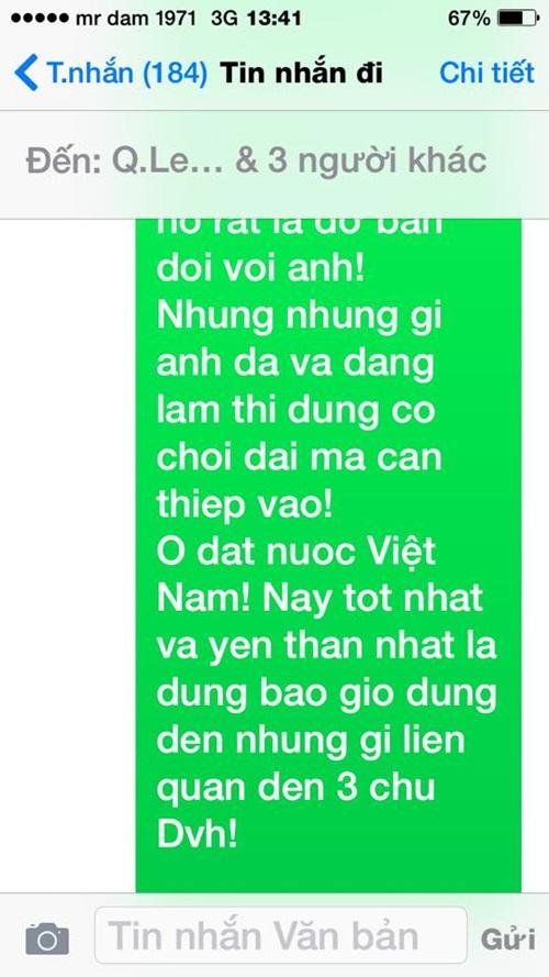 Đàm Vĩnh Hưng công bố tin nhắn mà Quang Lê cho là 'khủng khiếp' 2