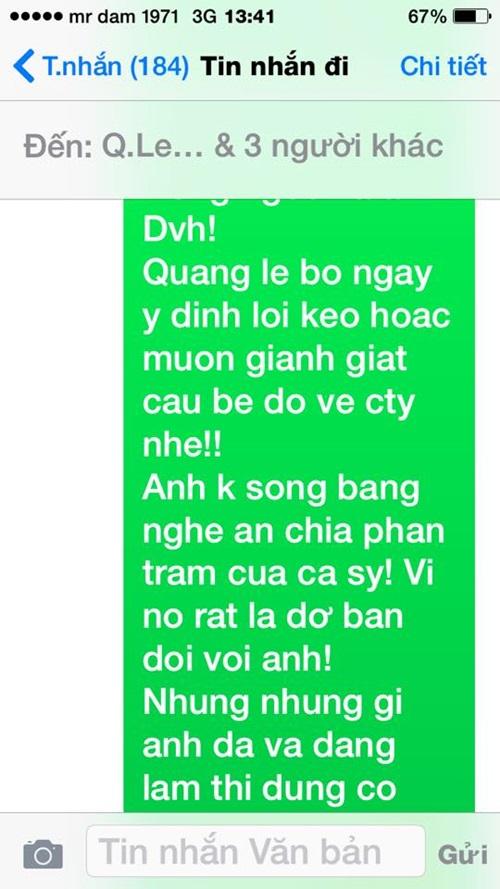 Đàm Vĩnh Hưng công bố tin nhắn mà Quang Lê cho là 'khủng khiếp' 3