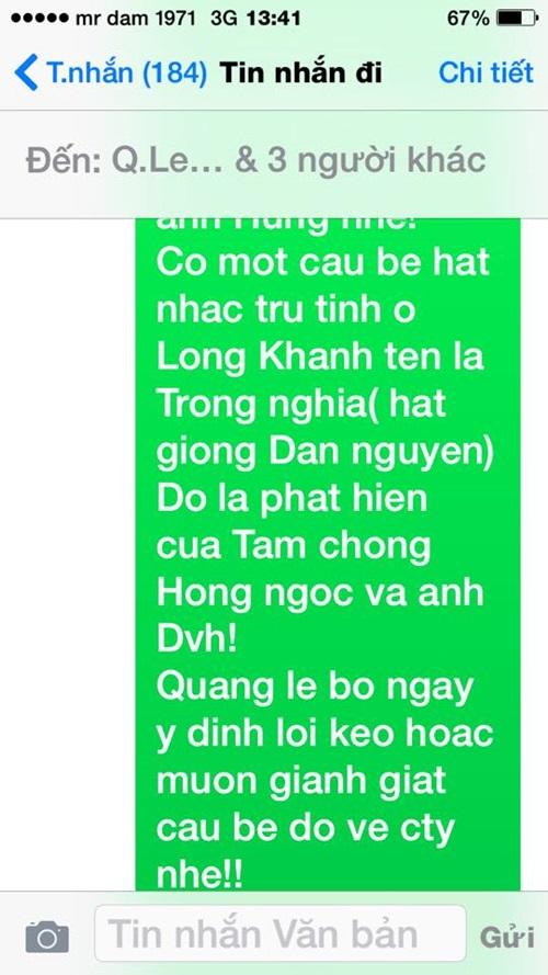 Đàm Vĩnh Hưng công bố tin nhắn mà Quang Lê cho là 'khủng khiếp' 5