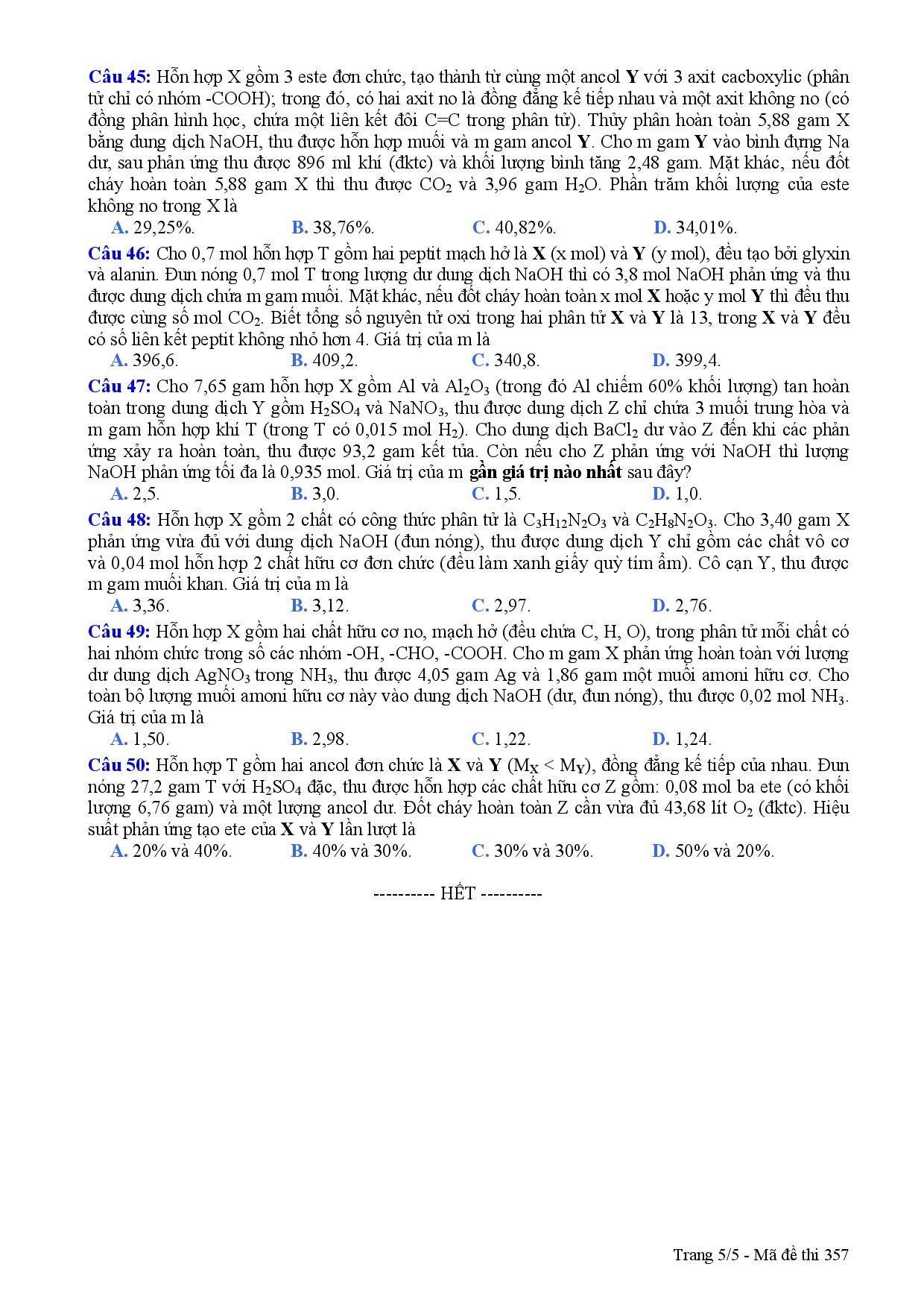 Đáp án đề thi môn Hóa học tốt nghiệp THPTQG năm 2015 nhanh nhất 7