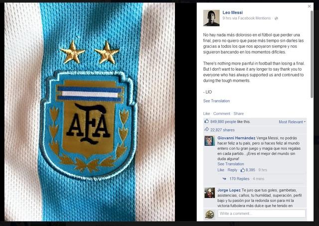 Messi lần đầu lên tiếng về thất bại cay đắng tại Copa America 1
