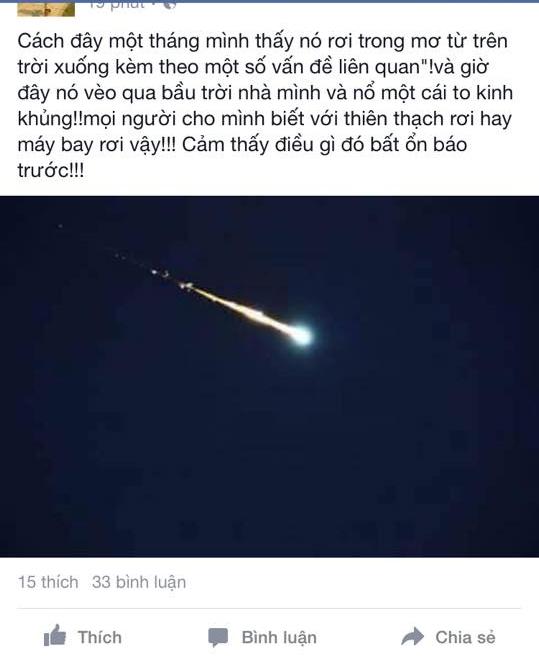 Vệt sáng trên trời gây tiếng nổ tại Hà Tĩnh: Đang xác minh thông tin 1