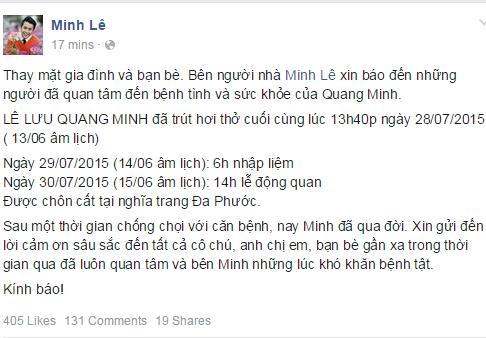 Dân mạng xót thương trước sự ra đi của MC Quang Minh 1
