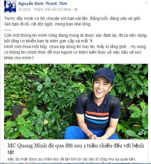 Dân mạng xót thương trước sự ra đi của MC Quang Minh 3