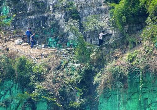 Người đàn ông sơn xanh cả vách núi cho hợp phong thủy 2