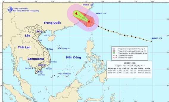 Siêu bão Soudelor: Vùng biển đông bắc Biển Đông gió giật cấp 10 1