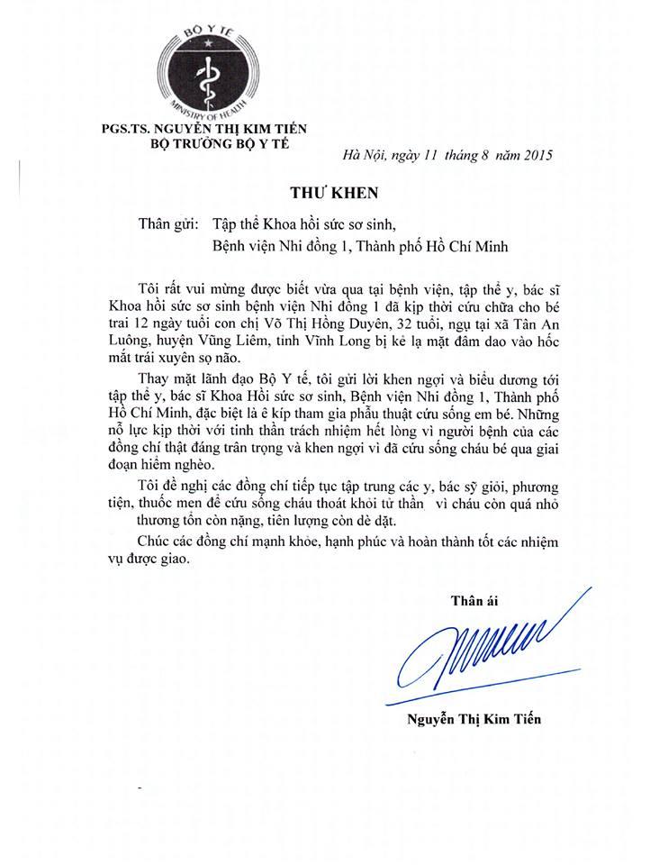 Bộ trưởng Bộ Y tế gửi thư khen ngợi y bác sĩ cứu bé sơ sinh bị đâm vào đầu 1