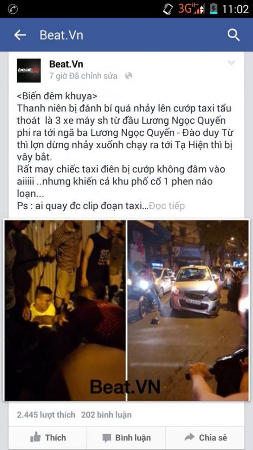 Thực hư tin đồn cướp taxi ở Hà Nội: cơ quan Công an lên tiếng 1