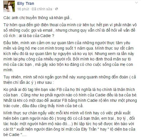 Elly Trần xin dư luận ngừng đoán mò cha của con gái 1
