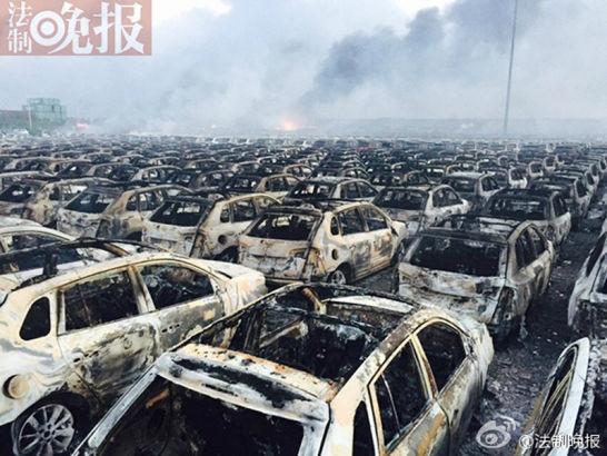 Vụ nổ ở Trung Quốc khiến hàng trăm xe ô tô cháy rụi 4