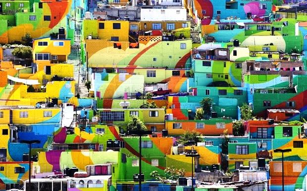 Mexico: Bức tranh tường khổng lồ được tạo nên từ 209 căn nhà 3