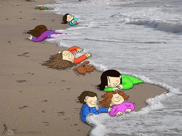 Những bức họa xót xa về cậu bé di cư dạt vào bờ biển 1
