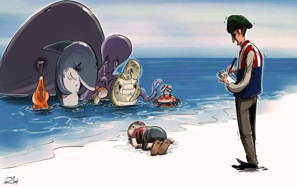 Những bức họa xót xa về cậu bé di cư dạt vào bờ biển 7