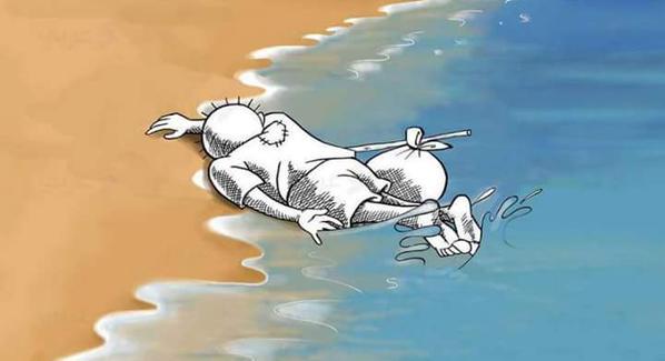 Những bức họa xót xa về cậu bé di cư dạt vào bờ biển 9