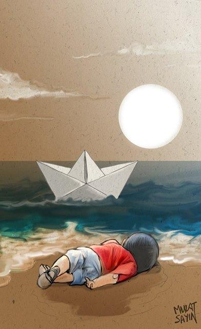 Những bức họa xót xa về cậu bé di cư dạt vào bờ biển 14