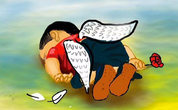 Những bức họa xót xa về cậu bé di cư dạt vào bờ biển 3