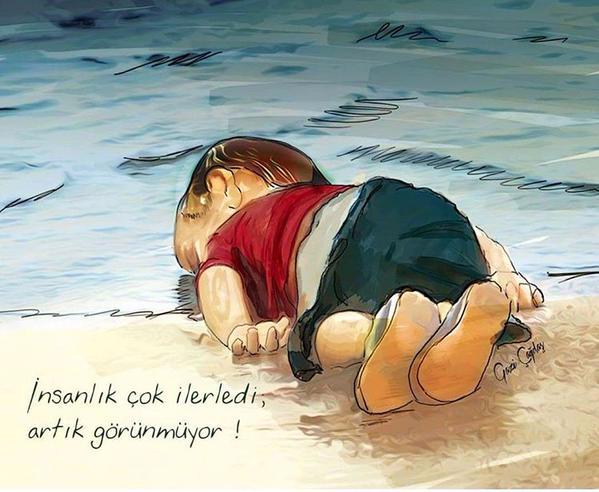 Những bức họa xót xa về cậu bé di cư dạt vào bờ biển 6