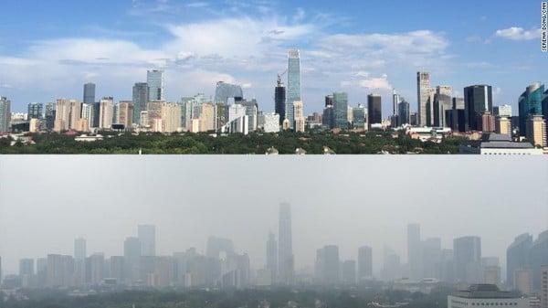 Bầu trời Bắc Kinh trong xanh bất ngờ sau 2 tuần cấm xe 2