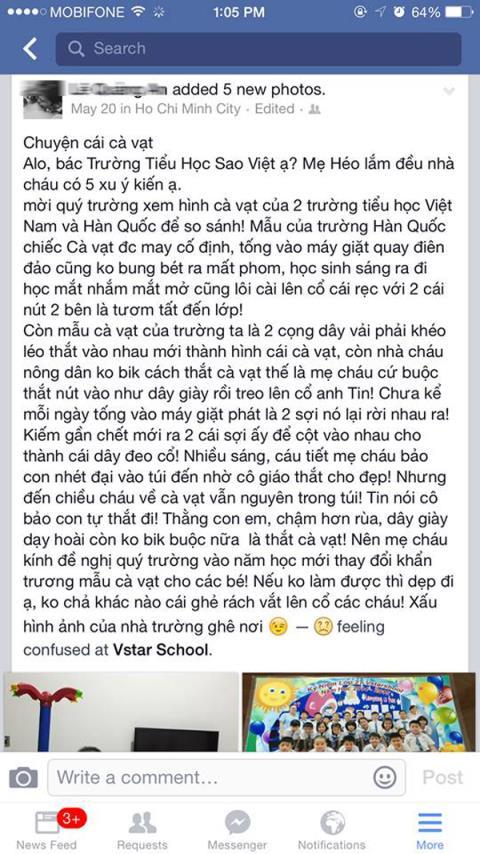 Con trai bị đuổi học vì phụ hunh chê đồng phục xấu trên Facebook