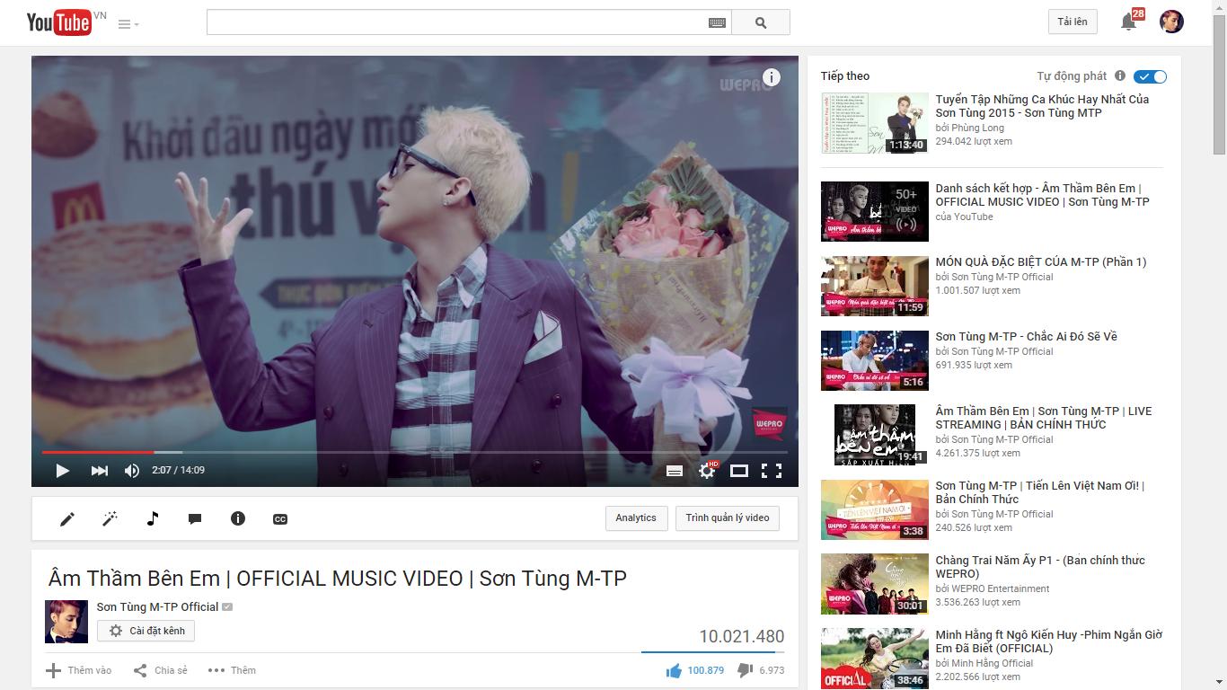 MV Âm thầm bên em của Sơn Tùng M-TP cán mốc 10 triệu views 1