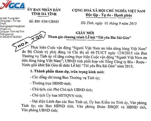 Cán bộ không uống bia Sài Gòn bị tường trình : Hà Tĩnh đã đi quá xa? 6