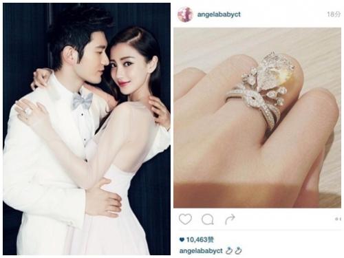 Hình ảnh Angela Baby và Huỳnh Hiểu Minh hé lộ thiệp cưới và nhẫn kim cương số 1