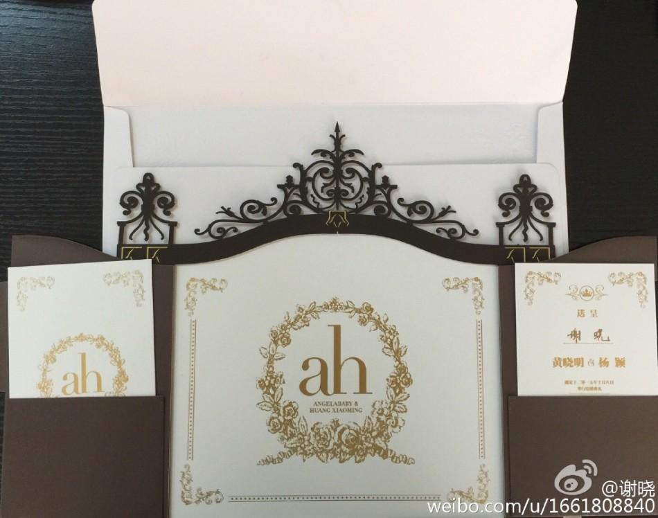 Hình ảnh Angela Baby và Huỳnh Hiểu Minh hé lộ thiệp cưới và nhẫn kim cương số 5