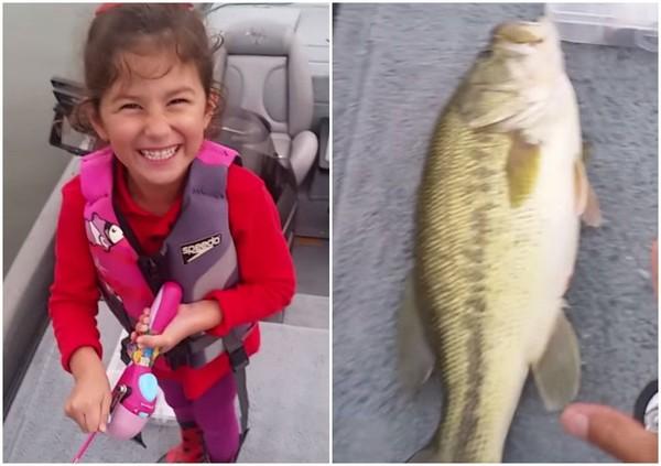 Bé gái 5 tuổi câu được con cá lớn bằng cần câu đồ chơi 1