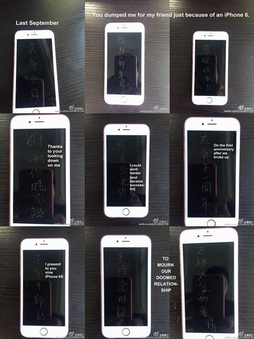Mua 9 chiếc iPhone 6S khắc chữ để trả thù người yêu cũ 1